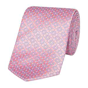 Pink Floral Woven Silk Tie