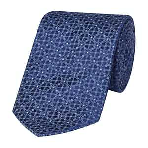 Blue Floral Woven Silk Tie