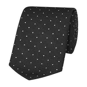 Black Polka Dot Silk Tie