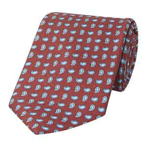 Red Silk Tie with Small Paisley Print