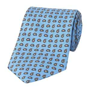 Blue Silk Tie with Small Paisley Print