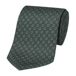 Green Silk Tie with Small Geometric Print