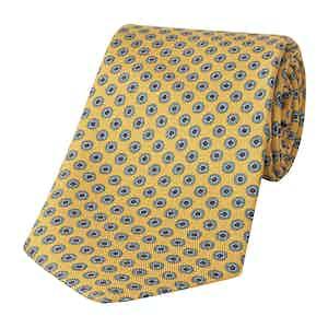 Yellow Silk Tie with Small Geometric Print