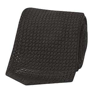 Black Grenadine Handmade Tie