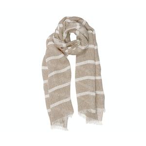 Brown Linen Lightweight Striped Scarf