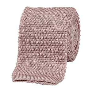 Pink Silk Square End Knitted Tie