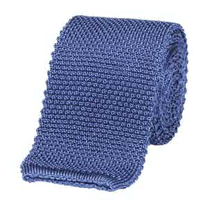 Blue Silk Square End Knitted Tie