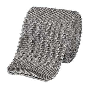 Grey Silk Square End Knitted Tie