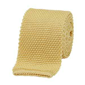 Yellow Silk Square End Knitted Tie