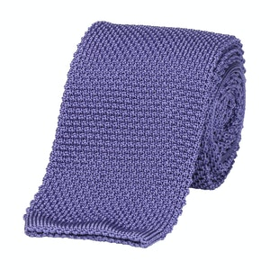 Purple Silk Square End Knitted Tie
