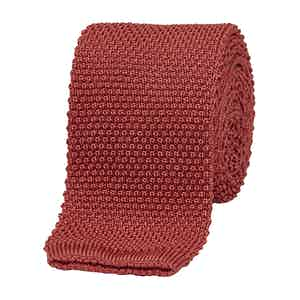 Red Silk Square End Knitted Tie