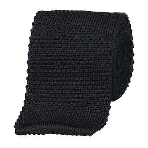 Navy Silk Square End Knitted Tie