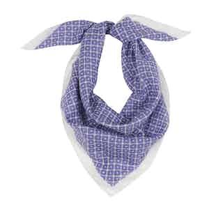 Blue Cotton Tile Pocket Square