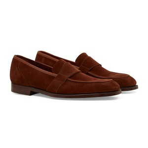 Brown Suede Owen Plain-Band Loafers