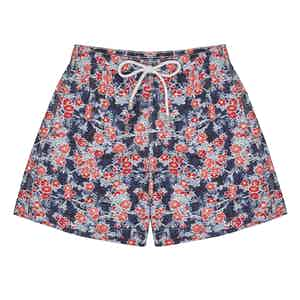 Navy, Blue and Red Floral Swim-Shorts