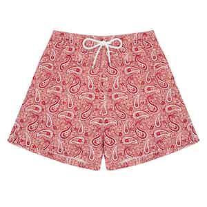 Red Paisley Swim Shorts