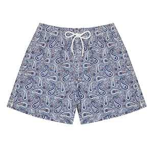 Navy Paisley Swim Shorts