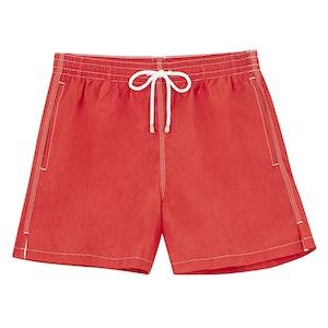 Red Swim Shorts with White Stitching
