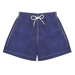 Navy Swim Shorts with White Stitching
