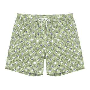Green and Ecru Heart-Print Swim Shorts