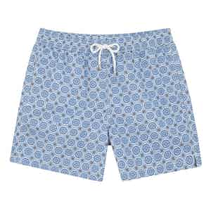 Blue, White and Navy Floral Swim Shorts