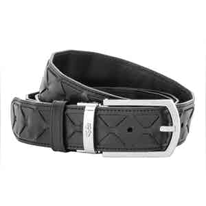Black Mosaico Lamb and Calf Leather Woven Belt