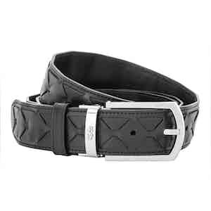 Black Mosaico Lamb and Calf Leather Woven Belt