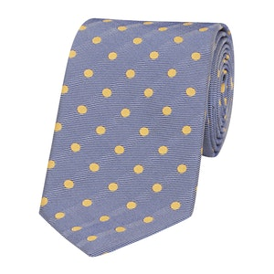 Blue and Yellow Silk and Cotton Spot Tie