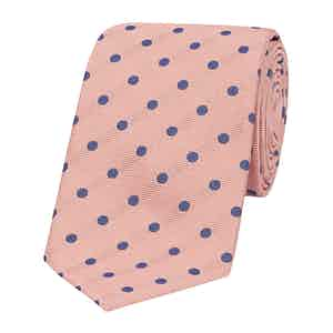 Pink and Blue Silk and Cotton Spot Tie