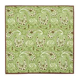Green Silk Spring Paisley Pocket Square