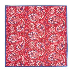 Red and Blue Silk Spring Paisley Pocket Square