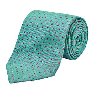 Turquoise and Red Silk Embroidered Dot Tie