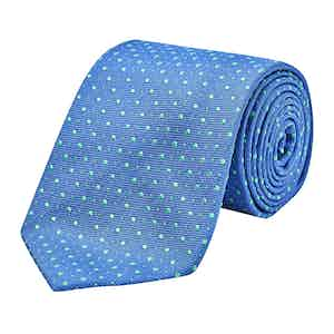 Blue and Green Silk Embroidered Dot Tie