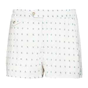White Polka Dot Swim Shorts