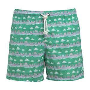 Green Swim Shorts with Feet Print