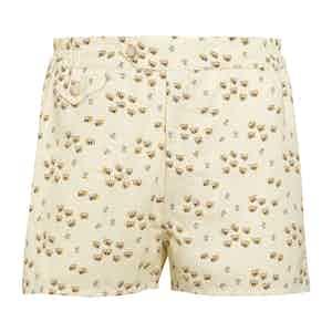 Yellow Swim Shorts with Bee Print
