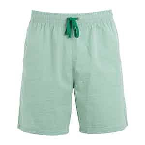 Green Striped Shell Swim Shorts