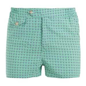 Green Swim Shell Shorts