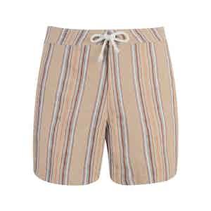 Beige Striped Shell Swim Shorts
