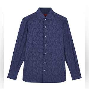 Navy Paisley Print Spread Collar Cotton Shirt