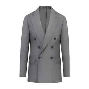 Grey Wool Hopsack Unlined Double-Breasted Jacket