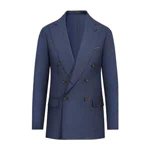Blue Wool Hopsack Unlined  Double-Breasted Jacket