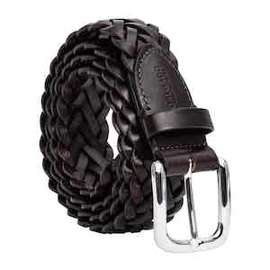Brown Hand-Braided Leather Belt Leonardo