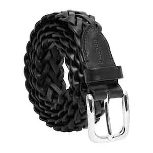 Black Vegetable-Tanned Leather Braided Belt