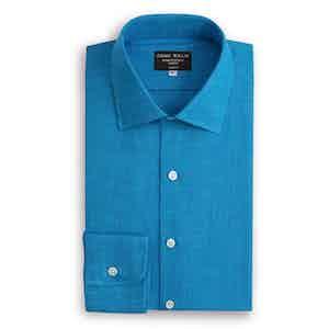Kingfisher Blue Floating Collar Linen Shirt