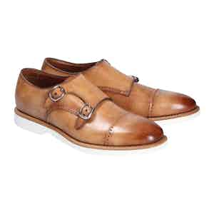 Tan Calf Leather Sanremo Monk Strap Shoes