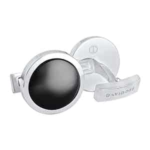 Rhodium and Black Essentials Round Cufflinks