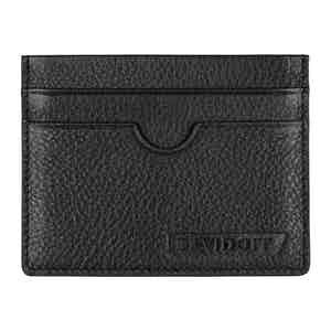Black Grained Leather Double Card Holder
