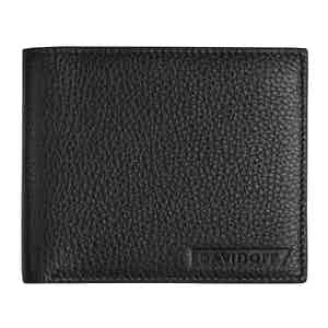 Black Grained Leather Bifold Eight-Card Wallet