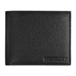Black Grained Leather Bifold Six-Card Wallet